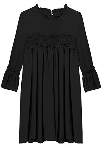 Shirts Cocktail Jaycargogo Ruched Women's Long Dress Sleeve Black Bust 6YwXSwxFnq