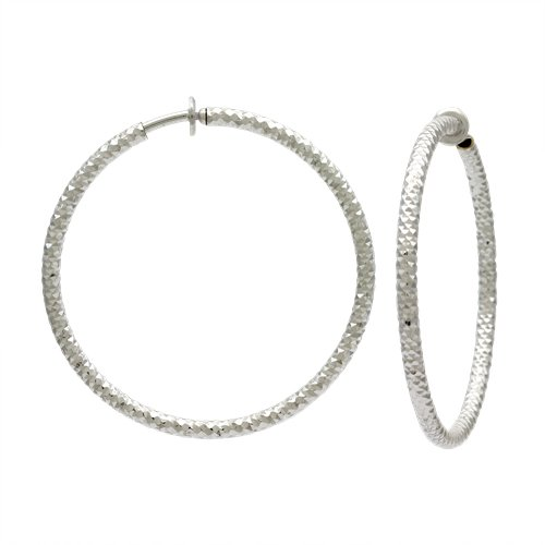 PammyJ Large 2 Round Hoop Fashion CLIP-ON Earrings, Goldtone Silvertone