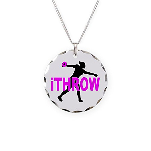 Polished Nickel Discus - CafePress - Pink Discus - Charm Necklace with Round Pendant