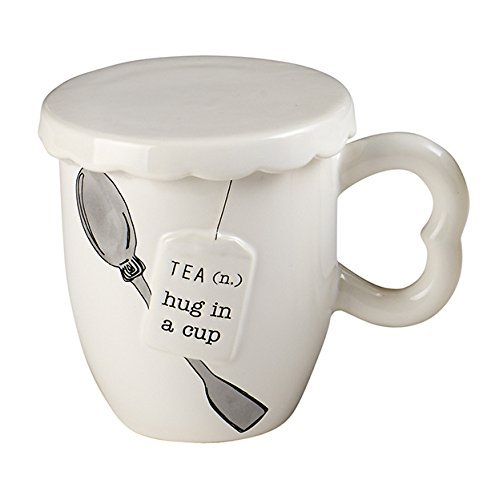 Mud Pie 4351013H Hug in A Cup Tea Mug Set, White by Mud Pie (Mud Pie Tea Cup compare prices)
