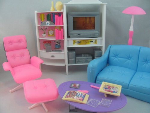 Barbie Size Dollhouse furniture family room TV couch ottoman