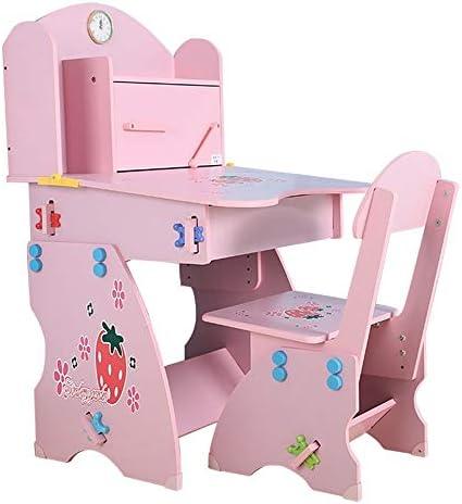 多機能 ブロックテーブル 子供 学習机 セット勉強机子供用 デスク 子供用テーブルとチェアセットテーブルチェアセット学生用デスクとチェアセット本棚付きホームデスク男の子と女の子ライティングデスクリフトテーブルとチェア 文房具収納 多機能 安心安全設計 子供部屋 (Color : Pink, Size : One size)