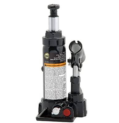 Omega 10025B Black Hydraulic Bottle Jack - 2 Ton Capacity