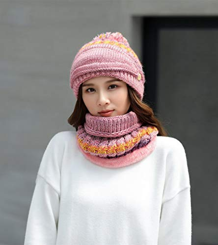 Doublé Chaud Velours Écharpe 4 Et Bonnet Pour En L'hiver Femme Tricotée Acmede Masque Couleur De x401wTn