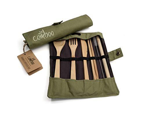 comboo® – Bambus Besteck Set| Reisebesteck | umweltfreundliches Besteckset | Messer, Gabel, Löffel, Stäbchen und Strohhalm| Besteck Holz | Besteck für unterwegs inkl. Tasche | (grün, 20)