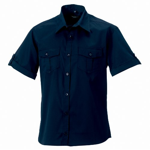 "Russell Collection Mens Short / Roll-Sleeve Work Shirt (2XL (Collar 18"")) (French (French Collection Roll)"