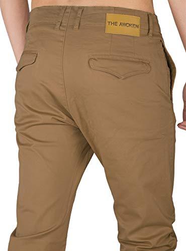 Awoken Chino Business Marrone Slim Fit Uomo Casual Pantaloni The EqdwRd