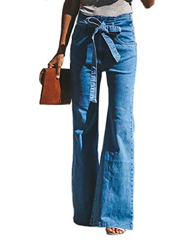 - Women's Classic Denim Jeans Skinny Bell Bottoms Strenchy High Waist Flare Wide Leg Long Pants with Buttons