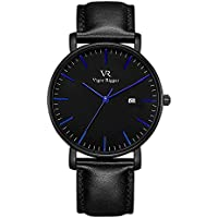 Vigor Rigger Men's Quartz Watches with Genuine Black Leather Watch Band, Minimalist Analog Date Display Wrist Watch, 30M Waterproof Watch with Metal case-8.