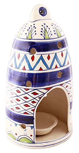 SouvNear Handmade 11.7 Inches Multi-colored Ceramic Bird House Shelter with Feed Bowl