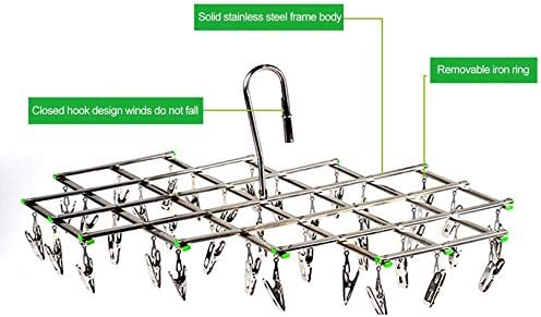Appearancees Stainless Steel Windproof Swivel Clothes Hanger Organizer with 35 Clips for Underwear Bra Socks Gloves Drying Hook Rack