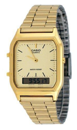 Casio AQ230GA-9D Men's Analog Digital Dual Time Gold Tone Metal Band Watch (Dual Time Watch Casio Digital)