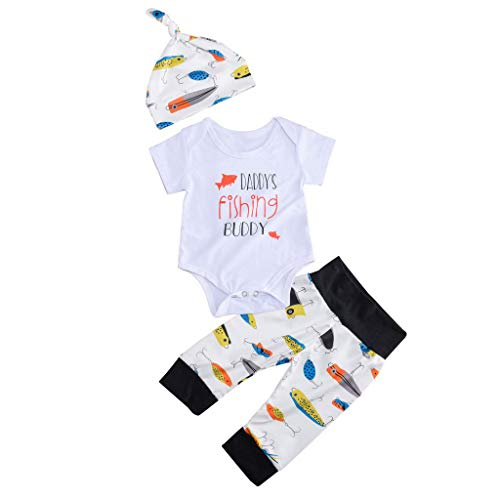 Infant Baby Outfits Set HP95 3PCS Newborn Baby Boys Letters Printed Romper Bodysuit with Fishing Bait Pant & Hat -Daddy's Fishing Buddy