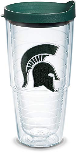 Tervis 1086745 Michigan State Spartans Helmet Tumbler with Emblem and Hunter Green Lid 24oz, ()