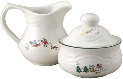Pfaltzgraff Snow Village Sugar and Creamer Set