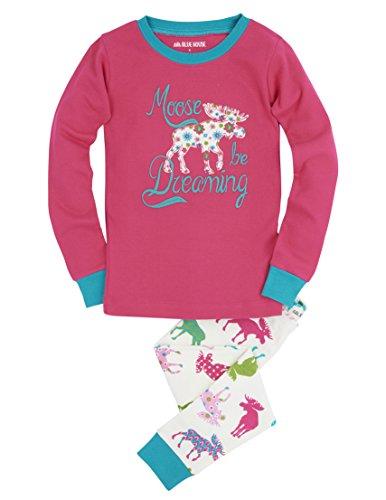 Little Blue House by Hatley Girls' Little Long Sleeve Appliqué Pajama Sets, Patterned Moose, 2
