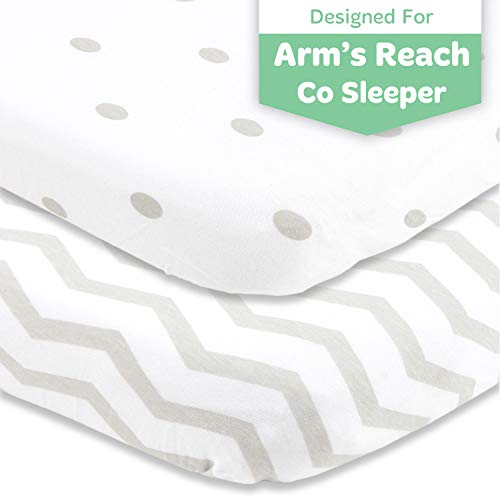 Cuddly Cubs Arms Reach Co Sleeper Sheets Fitted - 18 x 36 Cradle Sheets - Snuggly Soft Cotton - Fits Perfectly Without Bunching Up on Clear Vue, Cambria, Mini Ezee Bassinets - Grey Polka Dots, Chevron