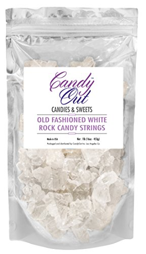 (White Old Fashioned Rock Candy String Pieces 1lb (1 Pound) in CandyOut Stand Up)