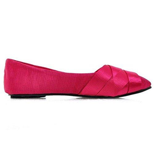 COOLCEPT Mujer Moda Plano Cinta sin Cordones Bombas Zapatos Para Nupcial Fiesta Zapatos Rojo