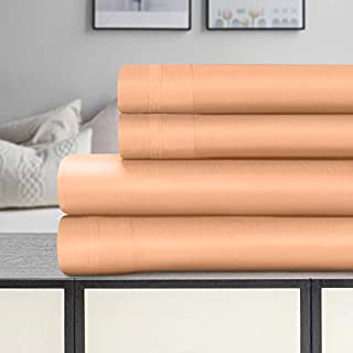 SUPERIOR 1500 Thread Count 100% Egyptian Cotton Sheets - 4-Piece Dusted Rose Queen Sheet Set Havana Collection - Fits Mattress Upto 18'' Deep Pocket - Soft Silky Sateen Weave