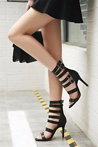 Tamaño altos talones tacones sandalias zapatos de alto redondo black verano grande y de tacón PwrvqP