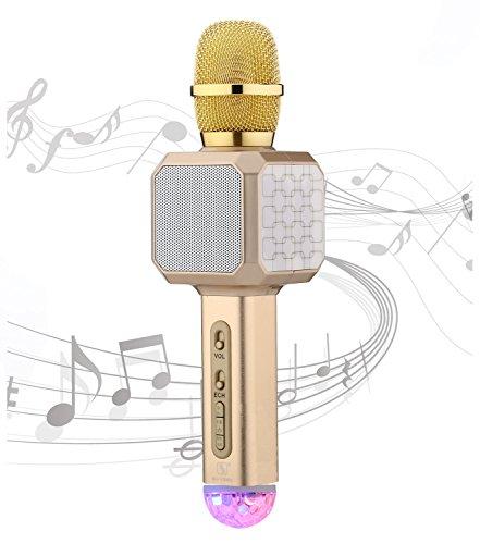 SU·YOSD YS-80 Wireless Speaker and Microphone Handheld ktv Microphone USB TF Read KTV Karaoke Bluetooth Microphone with USB Colorfull Neon Lights (White Gold) ()