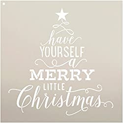 "Have Yourself A Merry Little Christmas Stencil by StudioR12 | Tree with Star | Song Lyric | DIY Script Holiday Home Decor | Reusable Mylar Template | Craft & Paint Wood Signs | SELECT SIZE (14"" x 14"")"