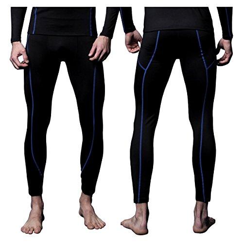 Underwear Bottoms - FITEXTREME Mens MAXHEAT Fleece Long Johns Thermal Underwear Bottom Black M