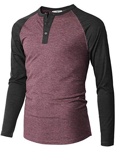H2H Men Casual Slim Fit Henley T-Shirt Raglan Long Sleeve Spandex Blended T-Shirt Burgundy US M/Asia L (CMTTL112)