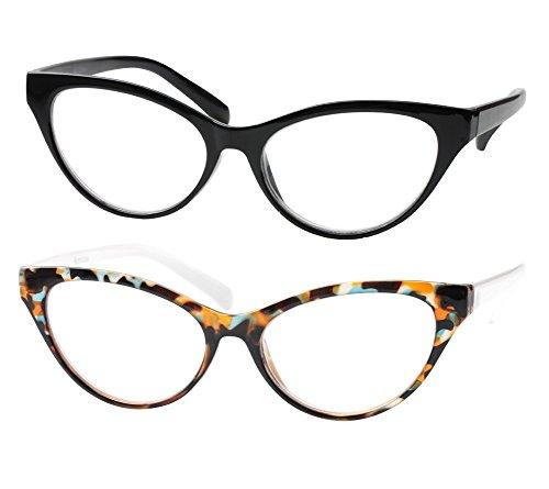 SOOLALA Modern Cat Eye Clear Lens Eye Glasses Frame Reading Glasses for Ladies, BkLeo, ()