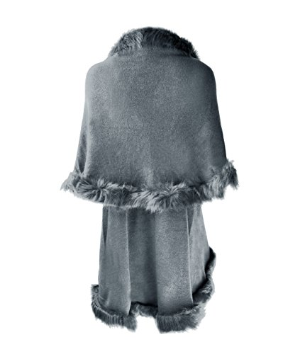 ZLYC Women Fine Knit Open Front Faux Fur Trim Layers Poncho Cape Cardigan Sweater (Gray) by ZLYC (Image #3)