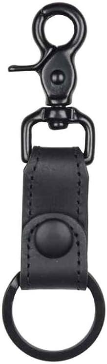 Mascorro Leather Studded Keychain Fob with Metal Biker Chain Blk Leather K18-PY