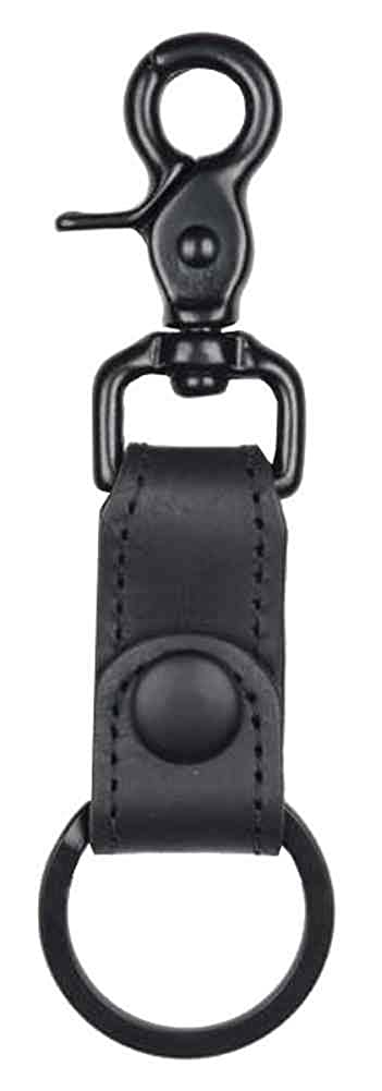 Biker Black on Black Motorcycle Key Fob, Trigger Hook, Genuine Leather BBK60 Mascorro