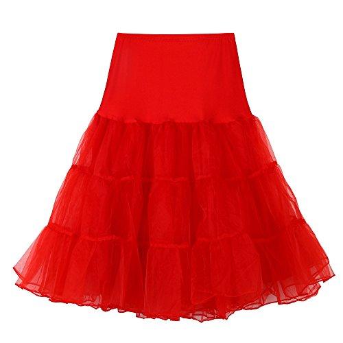 Jupon Retro Vintage Petticoat Tutu, lastique Taille, Jupon de Style anne 50s, Longueur du Genou Jupe Tutu en Tulle Rouge