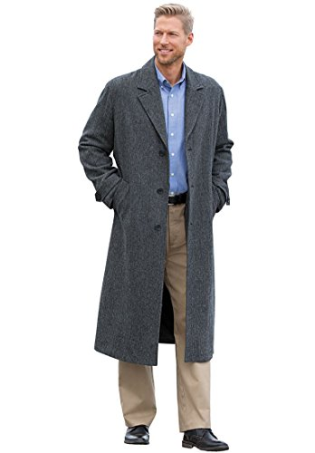 KingSize Men's Big & Tall Wool-Blend Long Overcoat, Charcoal Herringbone by KingSize