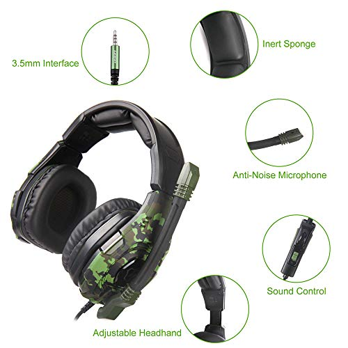 LETTON Stereo Gaming Headset for PS4, PC, Xbox One Controller, Noise Cancelling Over Ear Headphones with Mic, Bass Surround, Soft Memory Earmuffs for Laptop Mac Nintendo Switch Games (L1)