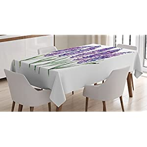 Ambesonne Watercolor Flower Decor Tablecloth, Illustration of Lavender Flowers with Fresh Colors Mint Family Plant, Rectangular Table Cover for Dining Room Kitchen, 52×70 Inches, Violet Green White