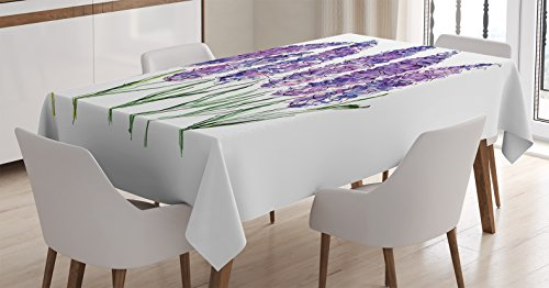 Ambesonne Watercolor Flower Decor Tablecloth, Illustration of Lavender Flowers with Fresh Colors Mint Family Plant, Rectangular Table Cover for Dining Room Kitchen, 52x70 Inches, Violet Green White ()