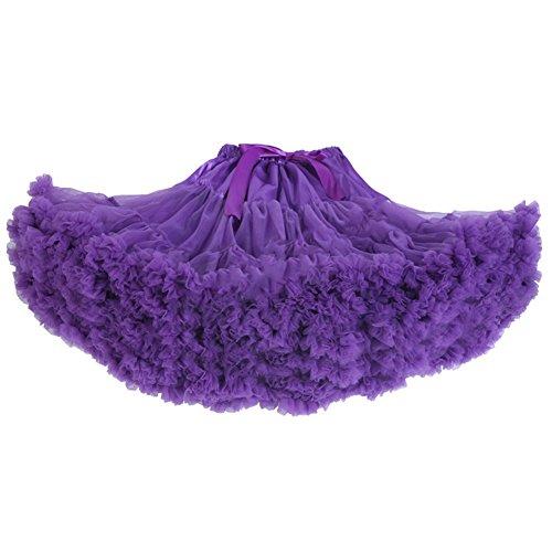 Elley Women's Tutu Princess Mesh Petticoat Multi-Layer Dance Pettiskirt Purple One Size
