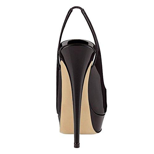 Cheville Élastique Ouvert Talon Soirée Sandales Chaussures 14cm Haut Femme Femmes Bout Noir Edefs qzxvRv
