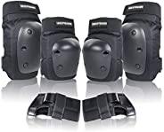 LANOVAGEAR Knee Elbow Pads with Wrist Guard Adjustable Toddler to Adult 6PCS Protective Gear Set for Multi Spo