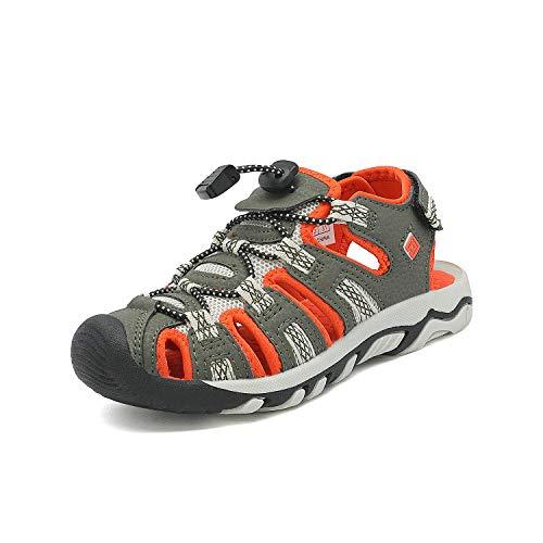 DREAM PAIRS Big Kid 160912-K Olive Green Beige Orange Outdoor Summer Sandals Size 5 M US Big Kid ()