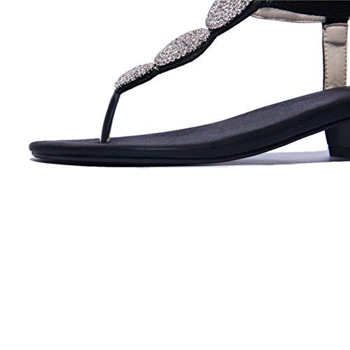 AllhqFashion Women's Soft Material Split Toe Low-heels Buckle Solid Sandals Black LtCU5