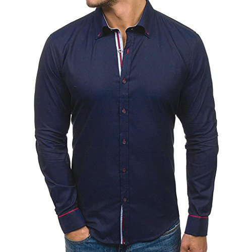 - iHPH7 Men's Casual Slim Fit Button Shirt with Pocket Long Sleeve Tops Blouse