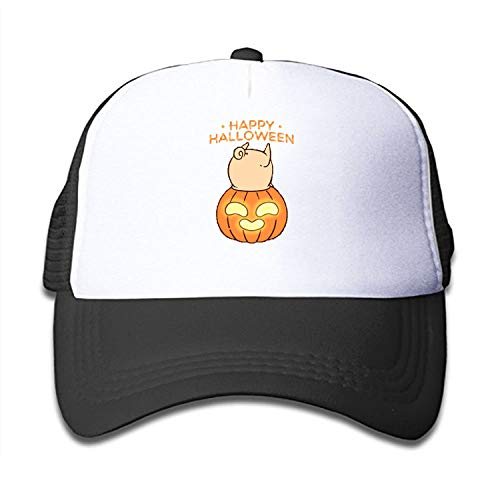 Kids Baseball Cap Funny Halloween Pug Dad Hat Adjustable Trucker Hat for Boys Girls Black ()