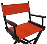 PERSONALIZED EMBROIDERED Gold Medal Contemporary 24'' Counter Height Black Frame Directors Chair - Orange