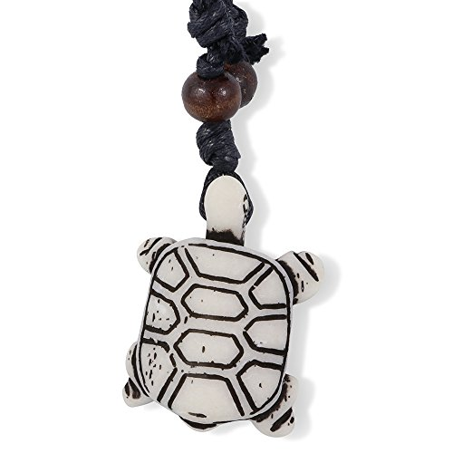 Turtle with Square Shell Bone Enamel Charm Leather Rope Necklace