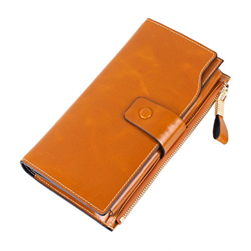 Womens RFID Blocking Large Capacity Genuine Leather Clutch Wallet Card Holder Organizer Ladies Purse With Zipper Pocket