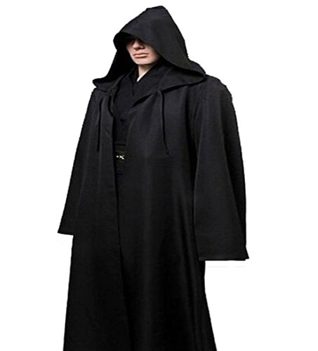 Halloween Costumes Black Robe (Men TUNIC Hooded Robe Cloak Knight Fancy Cool Cosplay Costume, Black, Large)