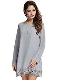 Meaneor Women's Long Sleeve Lace Embellished Loose Dress